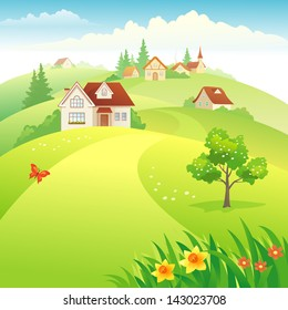 Vector illustration of a beautiful village on the hills at springtime