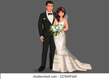 Vector illustration of beautiful wedding couple, bride and groom in standing position. Bride holding bouquet