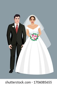 Vector illustration of a beautiful wedding couple, bride and groom in a standing position with a bouquet