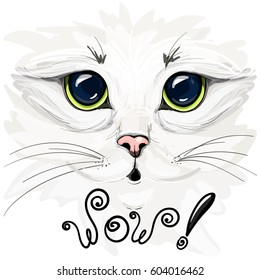 """Vector illustration of a beautiful white cat.  Big cat's eyes close-up. The lettering """"wow!"""""""