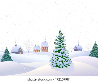 Vector illustration of a beautiful white winter landscape with a snow covered small village, isolated on a white background