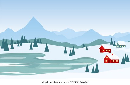Vector illustration of beautiful winter landscape with red houses on the mountains background and lake in flat cartoon style.