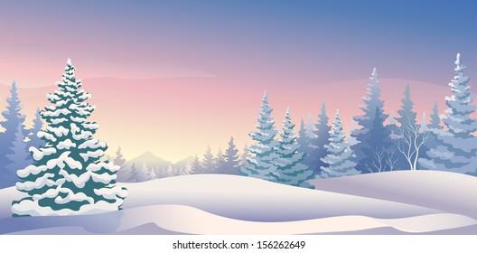 Vector illustration of a beautiful winter morning