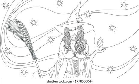 Vector illustration, beautiful witch with a broom conjures, magic night halloween, coloring.