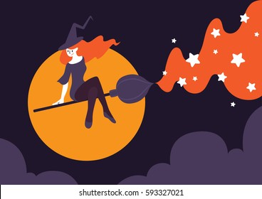 Vector illustration of a beautiful witch riding a broomstick on night sky with big moon and purple cloud. Broom acts as a paint brush painting magical star. A halloween card and poster concept.