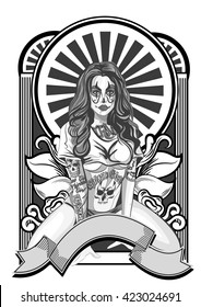 Vector illustration of a beautiful woman. Chicano tattoo style.