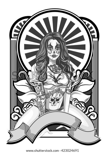 Vector Illustration Beautiful Woman Chicano Tattoo Stock