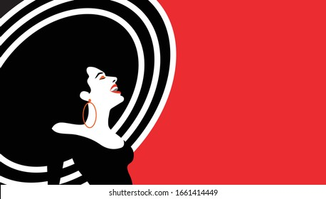 Vector illustration of a beautiful woman. Concept  for summer holiday, spring, wedding, anniversary, birthday party. Design for banner, poster, card, invitation. Pop art, retro, vintage.
