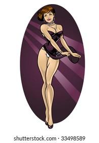 vector illustration of a beautiful woman dancing