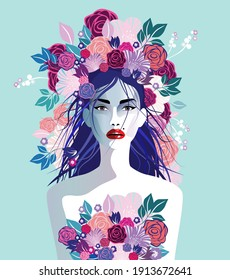 Vector illustration of a beautiful woman with hat of flowers in hair. Concept  for fashion, summer holiday, wedding, anniversary, birthday party in  pop art, retro, vintage style