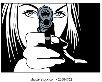 vector illustration of a beautiful woman holding a pistol
