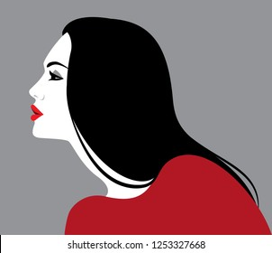 Vector illustration of beautiful woman with long black hair, profile