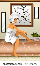 A vector illustration of beautiful woman shaving  her legs in the bathroom