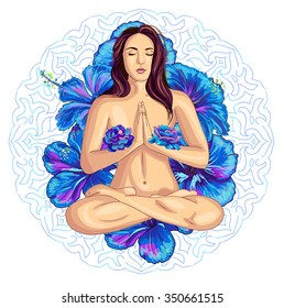 Vector illustration of a beautiful woman sitting in yoga lotus position with blue roses and hibiscus flowers and round ornament isolated