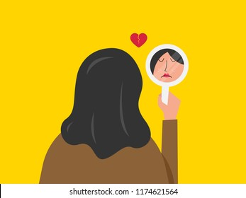 Vector illustration of a beautiful woman staring at her sad reflection in a mirror. Mirror shows woman's sad face
