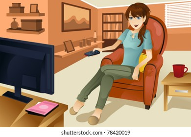 """A vector illustration of a beautiful woman watching television at home.  Part of """"A Day In Life"""" series"""