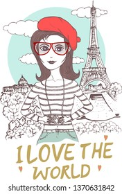 Vector illustration of beautiful woman wearing red baret and glasses. Travel concept of world's famous city and landmark, Eiffel Tower, Paris,  France.