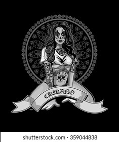 Vector illustration of a beautiful woman.Chicano tatoo style