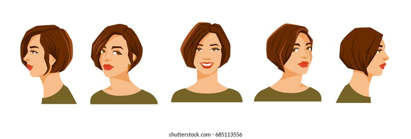 Vector illustration of beautiful woman's face on white background. Various turns heads. Face in front view and face in side view.