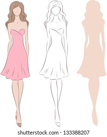 Vector illustration of beautiful woman's silhouette in pink dress with long hair. Three options