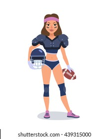 Vector illustration of beautiful  young American football woman player standing with helmet and ball in her hands.