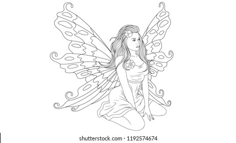 Fairy Coloring Pages Images Stock Photos Vectors Shutterstock