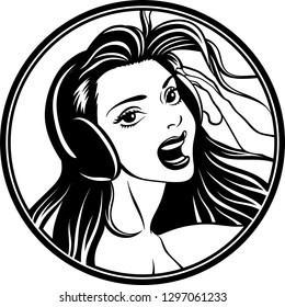 Vector illustration of a beautiful young woman with headphones logo.