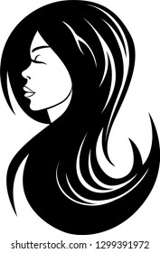 Vector illustration of a beautiful young woman with long hair logo, profile view.