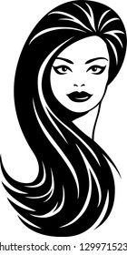 Vector illustration of a beautiful young woman with long hair logo.