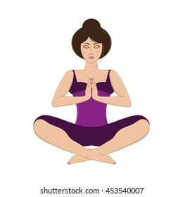 Vector illustration of beautiful young woman practicing yoga, meditating in yoga pose and namaste position isolated on white background.