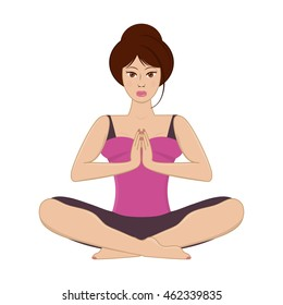 Vector illustration of beautiful young woman practicing yoga, meditating in lotus pose and namaste position  isolated on white background.