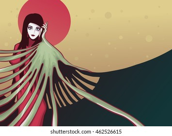 Vector illustration of a beautiful young woman inspired by japanese graphics.