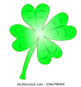 Vector Illustration - Beautifull light green cloverleaf with four leafs, happiness for St. Patricks day
