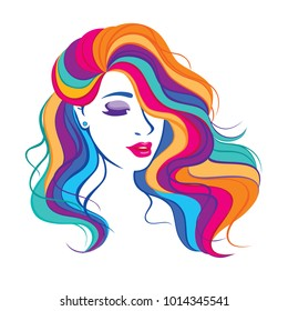 Vector illustration with beauty fashion model girl with colorful long dyed hair. Portrait of a beautiful woman with colouring rainbow hair, curly long haircut, salon icon