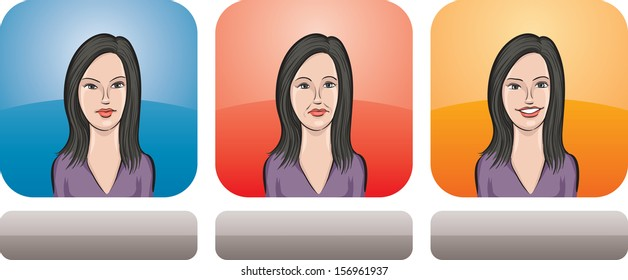 Vector illustration of beauty girl face in three expressions: neutral, sad and happy - head and shoulders composition. Layered vector EPS10 format file.