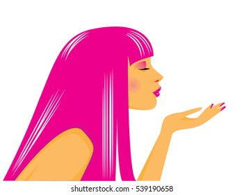 Vector illustration of a beauty girl with pink hair