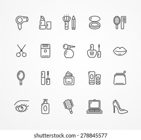 Vector illustration beauty outline icon set. black and white.
