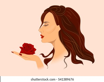 Vector illustration for a beauty salon. Woman holding a rose.