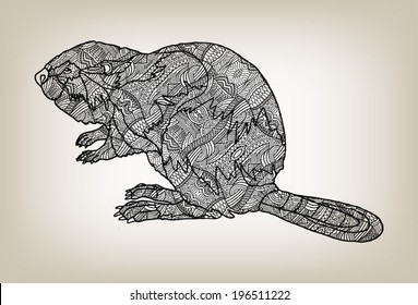Vector illustration of a beaver with ethnic ornament, detailed lace pattern, the animal is one of Canadian national symbols, hand drawn stylized graphic artwork