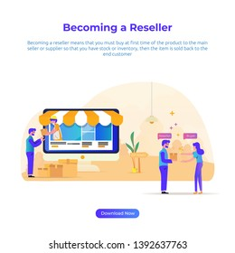 Vector illustration - Becoming a reseller for retail or e-commerce business
