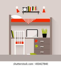 Vector illustration of a bedroom. Flat design illustration
