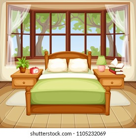 Vector illustration of a bedroom interior with a bed and a big window.