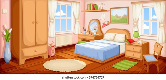 bedroom cartoons images stock photos vectors shutterstock 16991 | vector illustration bedroom interior bed 260nw 594754727