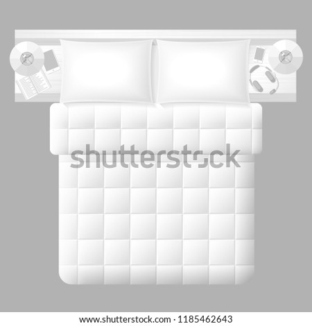 Vector Illustration Bedroom Top View Double Stock Vector Royalty