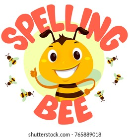 Vector Illustration of Bee with Spelling Bee word