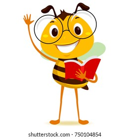 Vector Illustration of Bee Student Holding a Book while Raising his hand