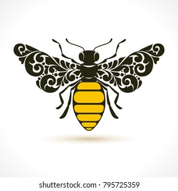 Vector illustration bee - symbol, icon, design element. Abstract Ornamental pattern honeybee isolated on white background