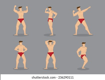 Vector illustration of beefcake wearing red underwear in various poses showing off muscular body.