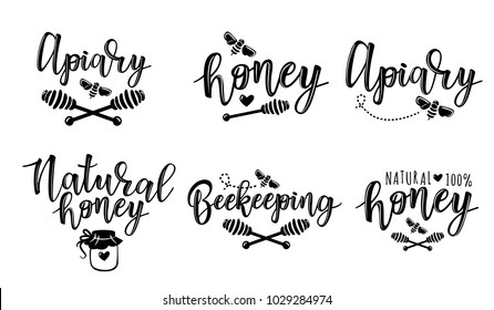 Vector illustration of beekeeping set. Black and white logo design templates