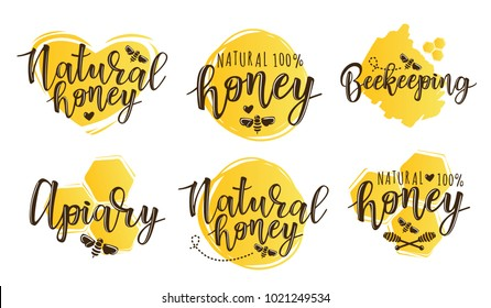 Vector illustration of beekeeping set. Logo design template with spoons of honey and bee